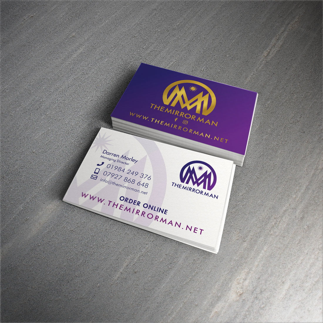 The Mirror Man Business Cards Visual Wizardry